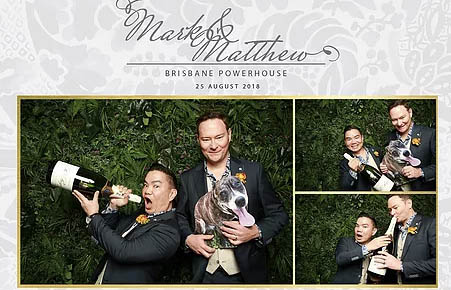 Photo booth strip from an event of a dog and his two owners