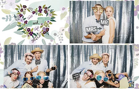 Photo booth strip showing a group having fun with props