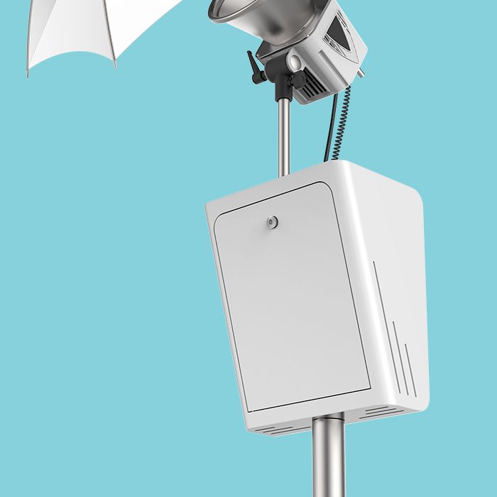 Photo booth rental - The Classic Booth With Umbrella Close Up view