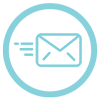 Light blue icon of an email