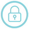 Light blue icon of a lock