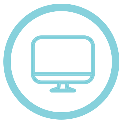 Light blue icon of a computer