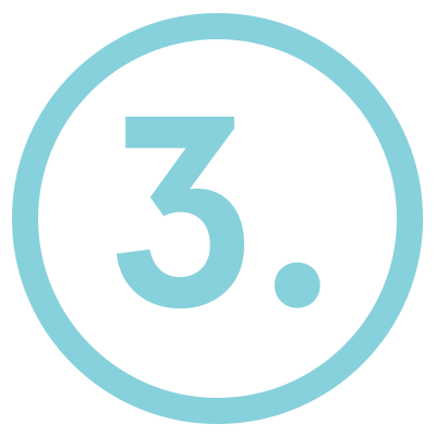 light blue, number three icon